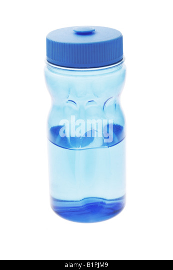 Half empty drinking water bottle on white background - Stock Image
