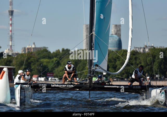 St. Petersburg, Russia, 20th August, 2015. GAC Pindar sailing team from United Kingdom in the Extreme 40 Stadium - Stock Image