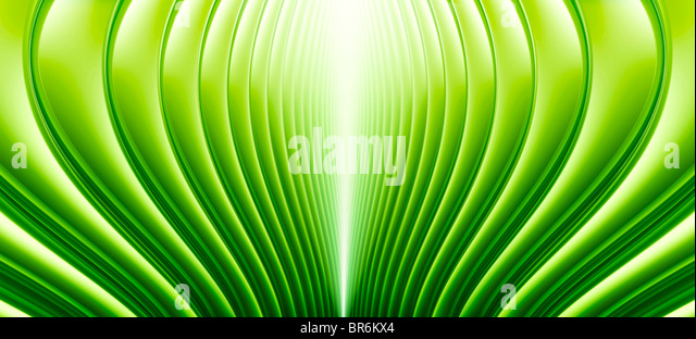 Abstract curved lines in Green - Stock Image