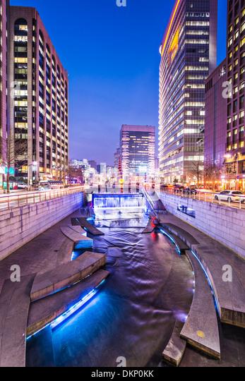 Seoul, South korea at Cheonggyecheon stream. - Stock Image