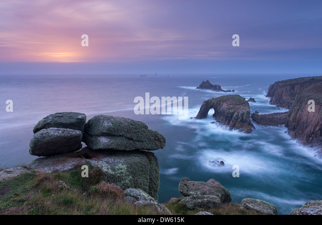 Sunset over the Atlantic near Land's End, Cornwall, England. Autumn (October) 2013. - Stock Image