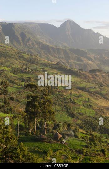Elk200-1233v Ethiopia, Ankober, escarpment landscape - Stock Image