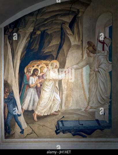 Christ in Limbo, Cell 31, by Fra Beato Angelico, 1441-42, Convent of San Marco, Florence, Tuscany, Italy, Europe - Stock Image