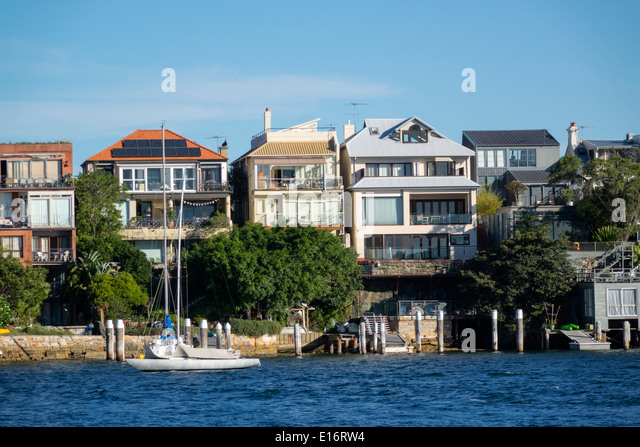 Sydney Australia NSW New South Wales Harbour harbor water waterfront homes houses Birchgrove Balmain - Stock Image