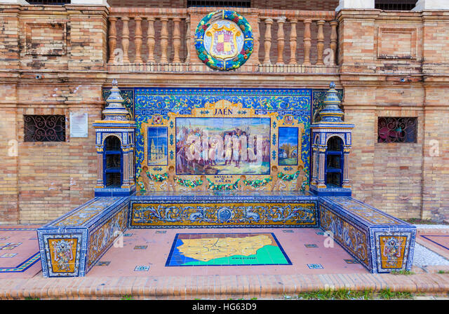 Glazed tiles bench of spanish province of Jaen at Plaza de Espana, Seville, Spain - Stock Image