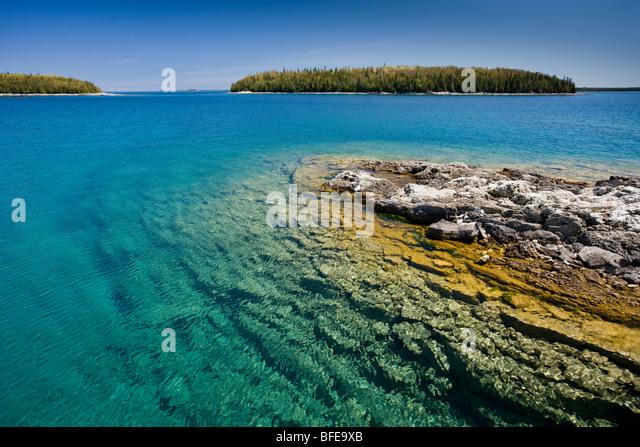 Small island in the Fathom Five National Marine Park, Lake Huron, Ontario, Canada - Stock Image