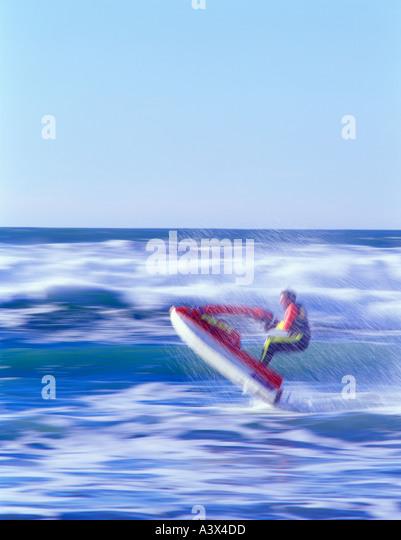 Jet sled on ocean at cape Kiwanda Oregon - Stock Image