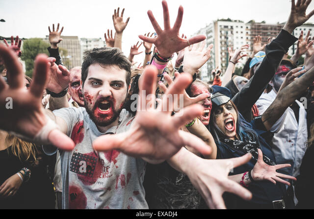MILAN, ITALY - OCTOBER 25: zombies parade held in Milan october 25, 2014. People took to the milan streets masked - Stock Image
