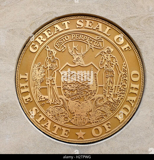 Seal of the great state of Idaho golden stars state - Stock Image