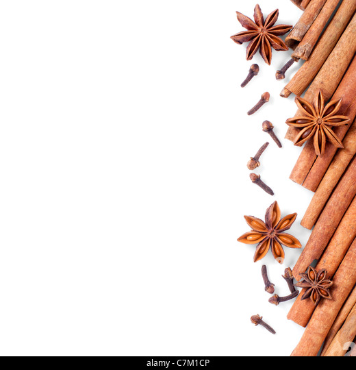 Left side background of spices - Stock Image