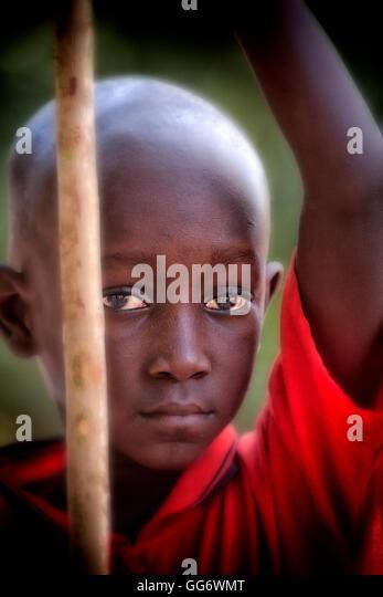 Senegalese Boy in St Louis in Senegal West Africa - Stock Image