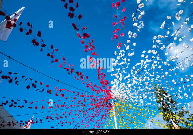 Festival at the modern church in the village of Camacha in the mountains above Funchal - Stock Image