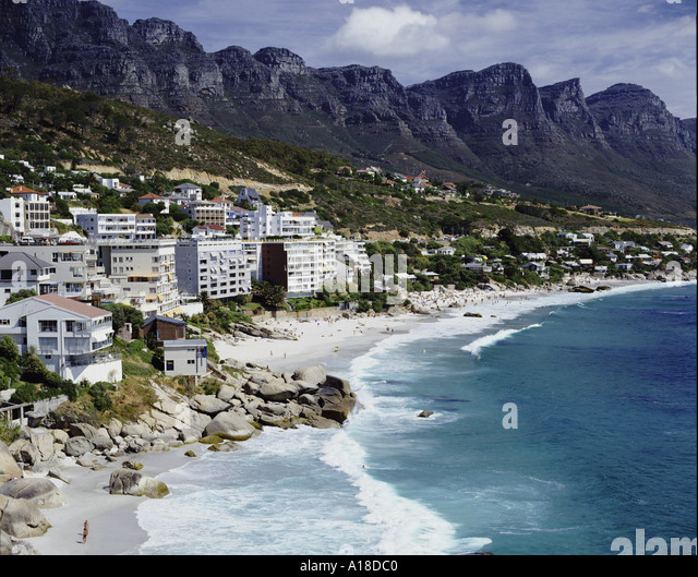 Clifton beach with the Twelve Apostles Cape Town South Africa - Stock-Bilder