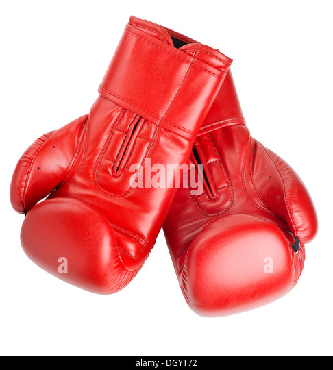 red leather boxing gloves isolated on white background - Stock Image