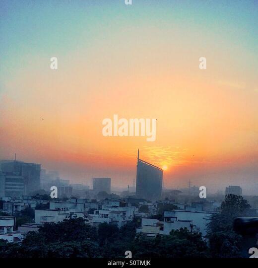 Gurgaon cityscape at sunset - Stock-Bilder