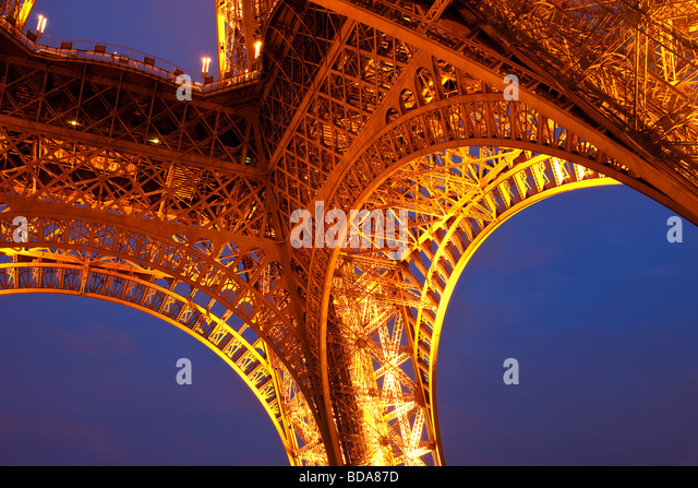 Eiffel Tower at night, Paris France - Stock Image