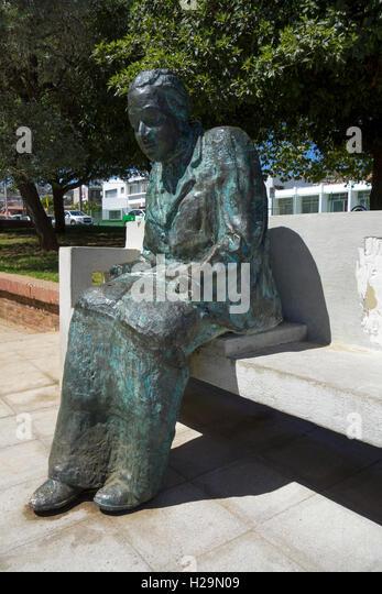 Gabriela Mistral statue.Chilean poet (1889-1957).1945 Nobel prize. Plaza de los Poetas  Cerro Bellavista. Valparaiso. - Stock Image