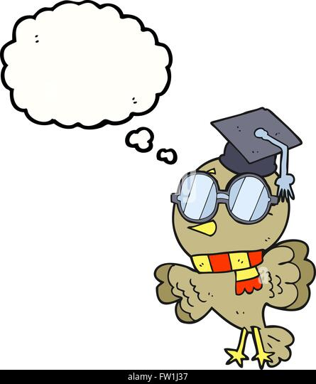 cute freehand drawn thought bubble cartoon well educated bird - Stock-Bilder