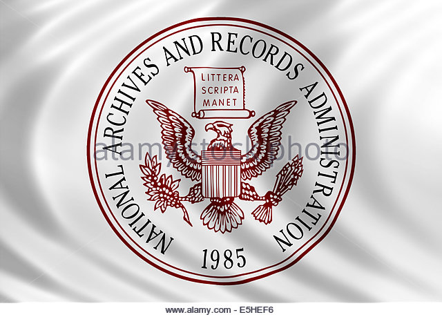 National Archives and Records Administration icon logo with flag of silk - Stock Image