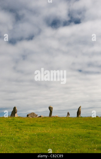 Bocan Stone Circle, Culdaff, Donegal against a cloudy sky - Stock Image