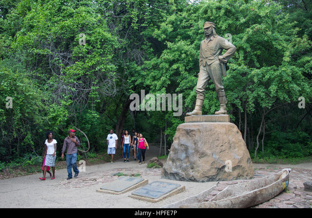 Statue of Doctor David Livingstone, Victoria Falls, Zimbabwe - Stock Image