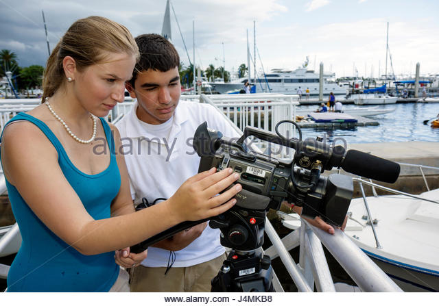 Miami Coconut Grove Florida Shake-a-Leg Miami No Barriers Festival Hispanic boy girl teen student brother sister - Stock Image