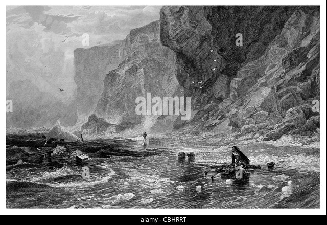 The Pirate Storm with Mordaunt Mertoun rescuing Cleveland pirate captain wrecked wreck ship crashing wave cliffs - Stock Image