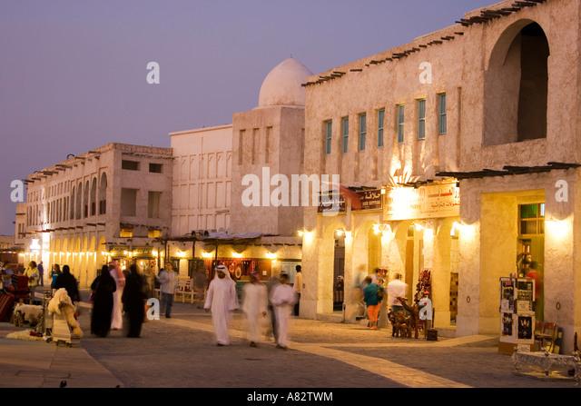 Qatar Doha Souk at twilight - Stock Image