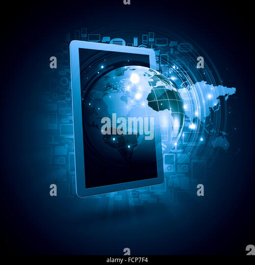 Global technologies concept with tablet pc and media icons - Stock-Bilder