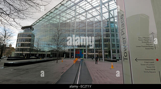 Tower Place Square Pano, London, England,UK - Stock Image