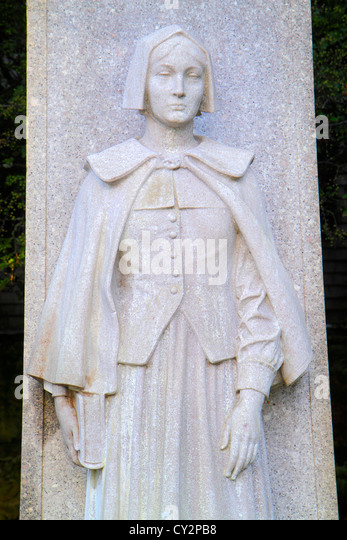 Massachusetts Plymouth Plymouth Bay Pilgrim Memorial State Park 1620 landing historic event statue sculpture woman - Stock Image