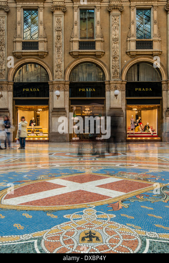 Galleria Vittorio Emanuele II gallery, Milan, Lombardy, Italy - Stock Image