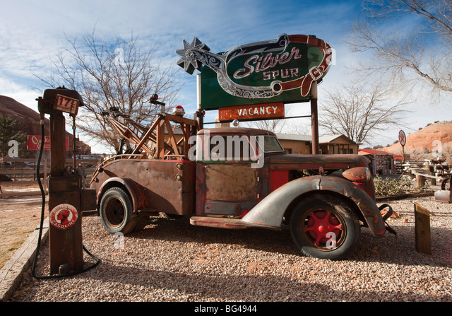 USA, Utah, Moab, Hole in the Rock tourist shop, yard detail, winter - Stock Image