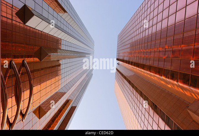 Copper-colored facades of office towers, modern architecture, Sheikh Zayed Road, Al Satwa, Dubai, United Arab Emirates - Stock Image