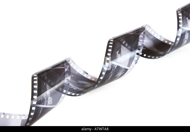 Curled black and white negatives - Stock-Bilder