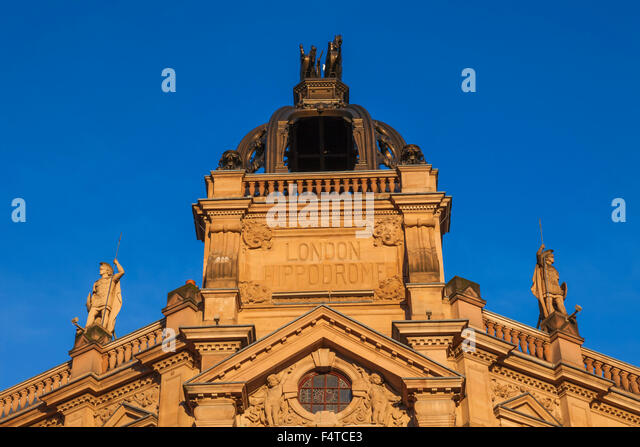 England, London, Leicester Square, Facade of The London Hippodrome - Stock Image