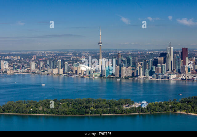 Aerial view of Toronto skyline with Islands in the foreground. - Stock Image