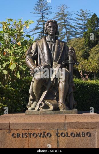memorial Christophorus Columbus in Santa Catarina park Funchal Madeira - Stock-Bilder