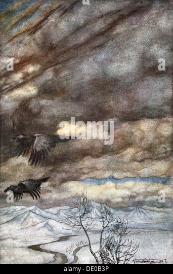 'The ravens of Wotan', 1924.  Artist: Arthur Rackham - Stock Image