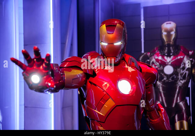 Amsterdam, Netherlands - March, 2017: Wax figure of Tony Stark the Iron Man from Marvel comics in Madame Tussauds - Stock Image