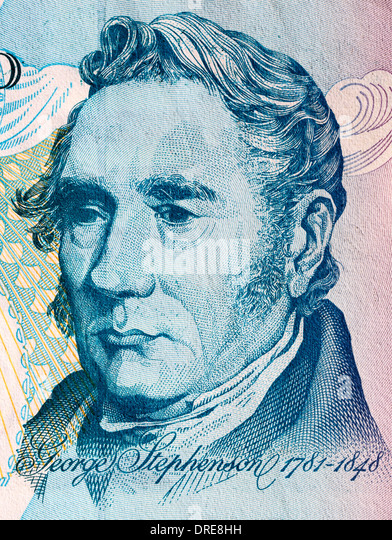Portrait of George Stephenson from 5 Pounds banknote, UK, 1999 - Stock Image