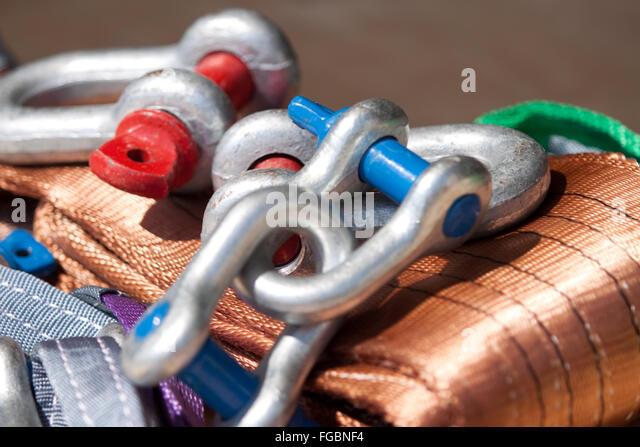 Handling , textile sling - Stock Image