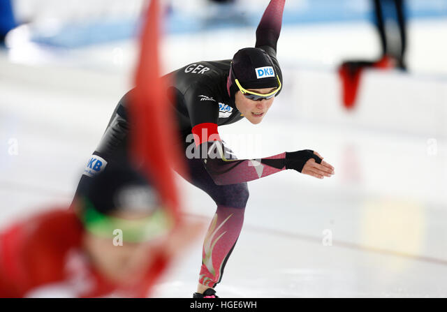 German speed skater Gabriele Hirschbichler in action during women's sprint/multi event at the Speed skating - Stock Image