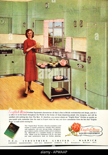 1950s Kitchen English Rose design advertisement 1958 EDITORIAL USE ONLY - Stock Image