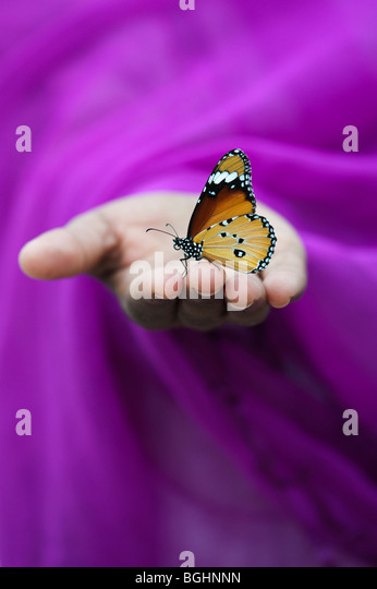 Danaus chrysippus. Plain Tiger butterfly on Indian girls hand. India - Stock Image