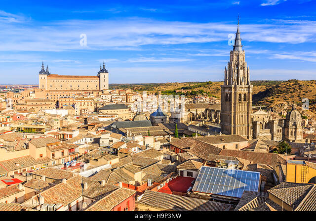 Toledo, Spain. Panoramic view of the old city and its Alcazar(Royal Palace). - Stock Image