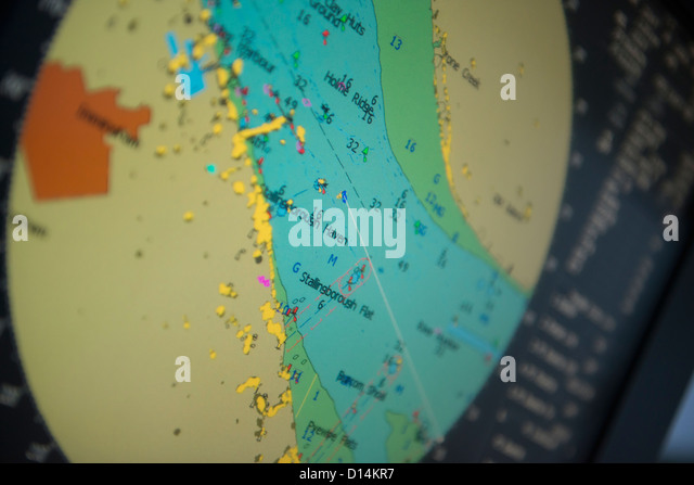 Close up of tugboat map on monitor - Stock Image