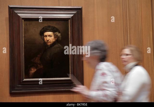 Washington DC National Gallery of Art West Building museum exhibition oil painting Rembrandt van Rijn artist Dutch - Stock Image