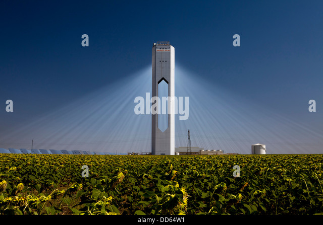The Planta Solar 20 (PS20) THERMAL SOLAR TOWER  is a solar thermal energy plant in Sanlucar la Mayor near Seville - Stock Image