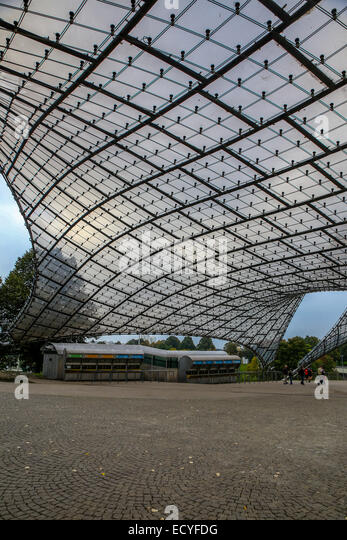 olympic park acrylic glass roof munich germany - Stock Image